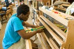 Student in Penland weaving class