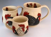 SusanCoe-rooster-mugs