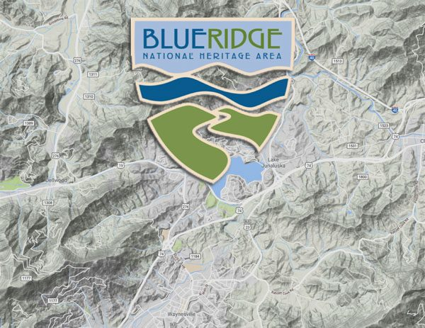 Topographical map with Blue Ridge Heritage Logo Overlay