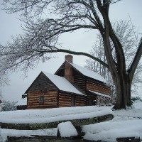 Vance Birthplace cabin in snow