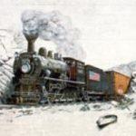 Railroad in snow in West Jefferson