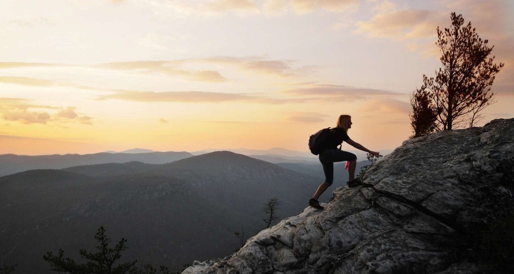 Linville Gorge hiker at sunset