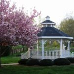 Mars Hill gazebo with spring flowers