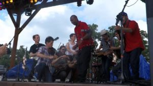 Arthur Grimes dancing with Old Crow Medicine Show
