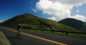 bicyclist on the Blue Ridge Parkway