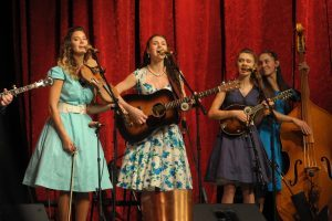The Burnett Sisters Band performing photo by Larry Neuzel