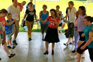Linda Block teaching dance steps at Fiddlers Grove